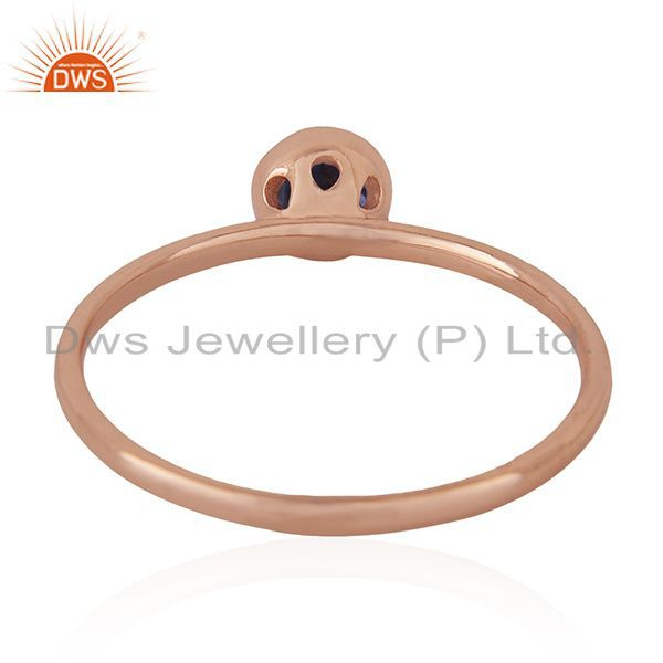Wholesalers Natural Iolite Gemstone 925 Silver Rose Gold Plated Wedding Ring Manufacturer