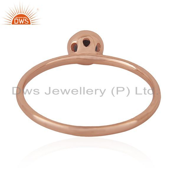 Wholesalers Smoky Quartz Gemstone Handmade Rose Gold Plated 925 Silver Wedding Ring Supplier