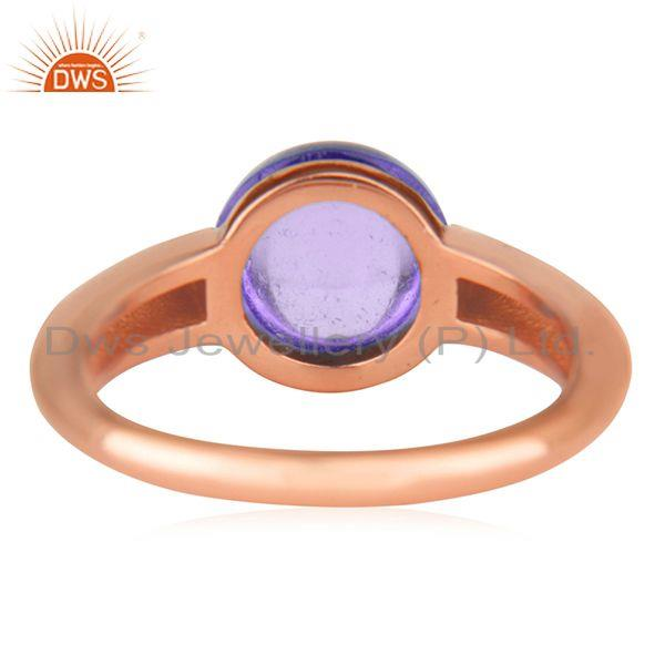 Wholesalers Natural Amethyst Gemstone Rose Gold Plated 925 Silver Ring Jewelry