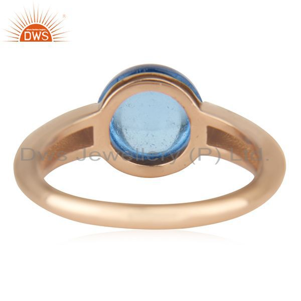 Wholesalers Blue Topaz Eye of the Beholder Tension Sterling Silver Rose Gold Plated  Rings