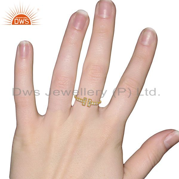 Wholesalers Cz Double Cross Curved Bar 925 Sterling Silver 14K Gold Plated Ring Jewellery
