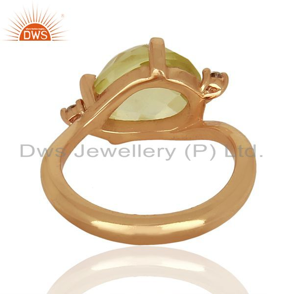 Wholesalers Green Gold Gemstone Sterling Silver Rose Gold Plated  Ring Gemstone Jewellery