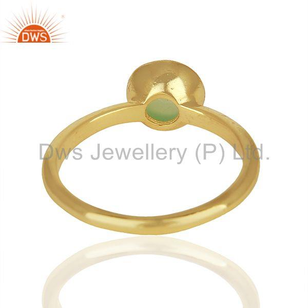 Wholesalers Designer 925 Silver Gold Plated Aqua Chalcedony Gemstone Rings Jewelry