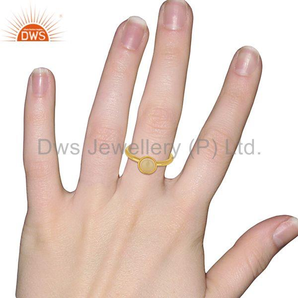 Wholesalers Designer Rose Chalcedony Gemstone Yellow Gold Plated Silver Rings