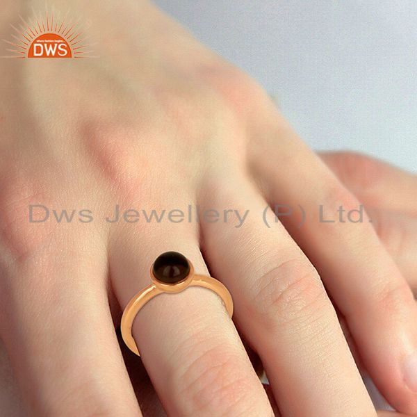 Wholesalers Smoky Topaz 925 Sterling Silver Rose Gold Plated Stack Rings Gemstone Jewellery