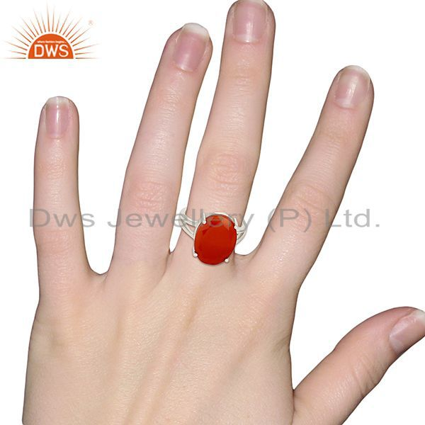 Wholesalers Red Onyx Flat Stone Oval Shape 92.5 Sterling Silver Wholesale Silve Ring