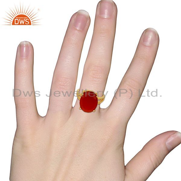 Wholesalers Red Onyx Flat Stone Oval Shape 14 K Gold Plated Wholesale Silve Ring