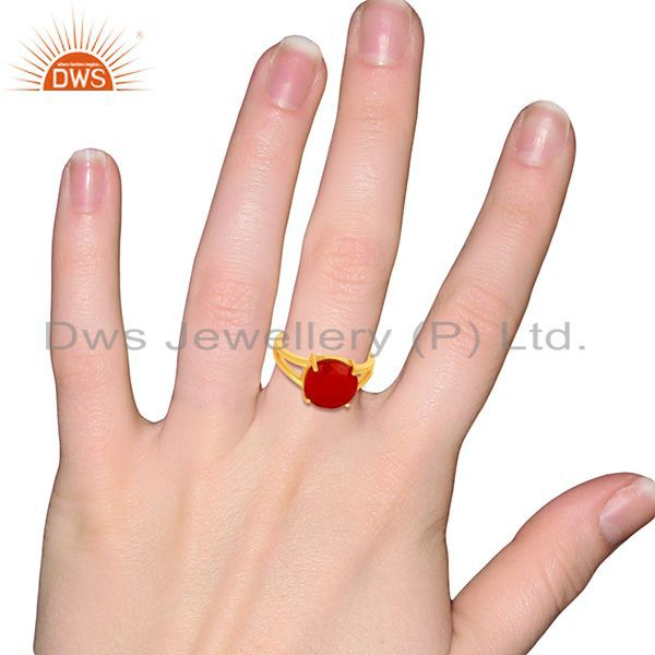 Wholesalers Red Onyx Flat Stone Round Shape 14 K Gold Plated Wholesale Silve Ring