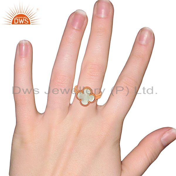 Wholesalers Mother Of Pearl Clover The Magic Motif Sterling Silver Rose Gold Plated Ring