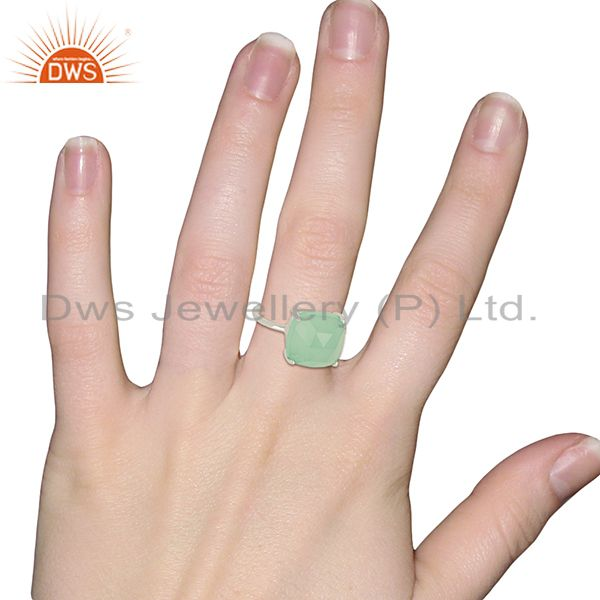Wholesalers 925 Sterling Fine Silver Aqua Chalcedony Gemstone Rings Manufacturer