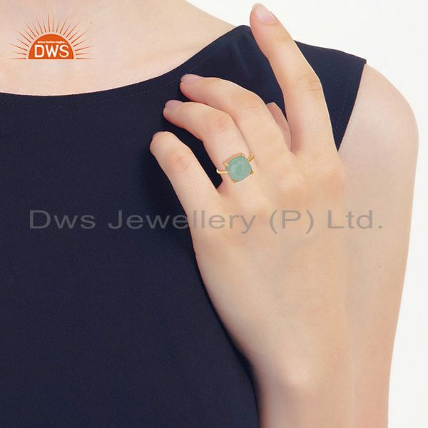 Wholesalers Aqua Chalcedony Gemstone 925 Solid Silver Stackable Rings Wholesale