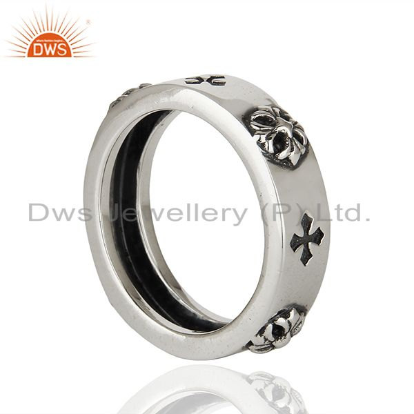 Wholesalers Solid 925 Sterling Silver Lucky Charm Mens Band Ring Manufacturer
