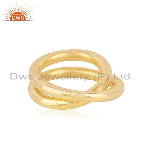 Wholesalers Handmade Simple Wire 925 Silver Yellow Gold Plated Unisex Ring Jewelry Supplier