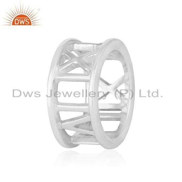 White Rhodium Plated 925 Silver Band Ring Manufacturer