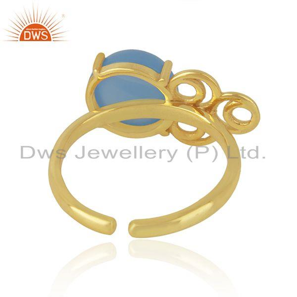 Designers of Designer gold plated blue chalcedony gemstone ring jewelry