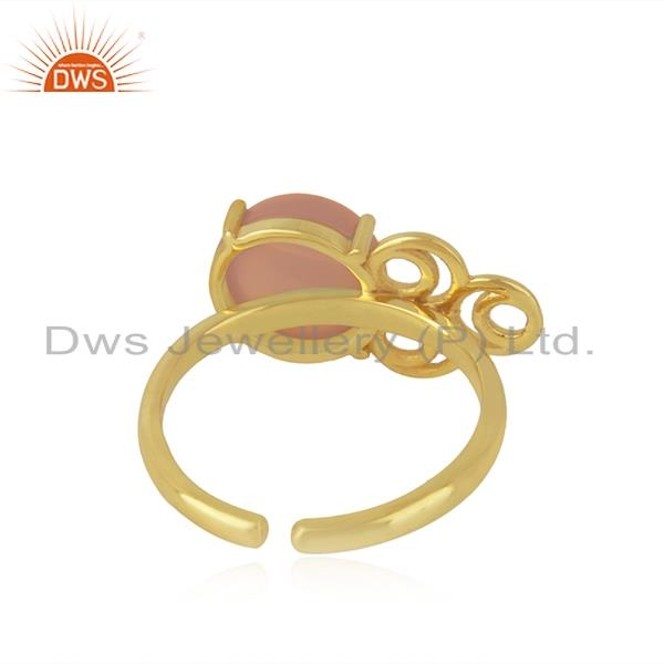 Designers of Rose chalcedony gemstone gold plated 925 silver designer ring wholesale