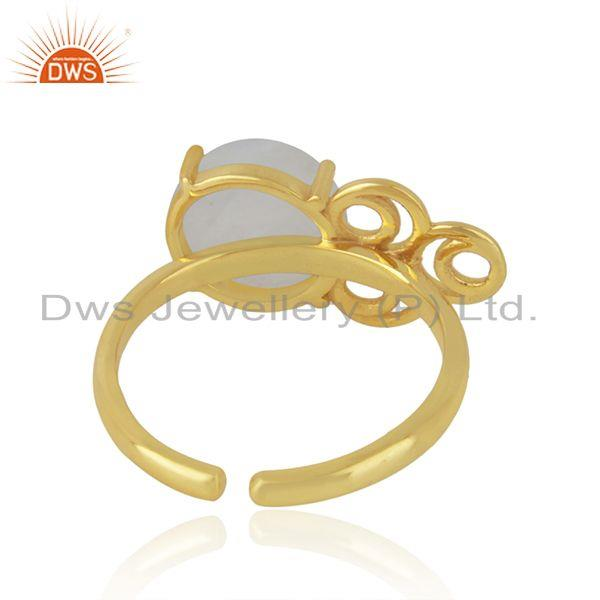 Designers of Rainbow moonstone 925 silver gold plated designer ring manufacturer india
