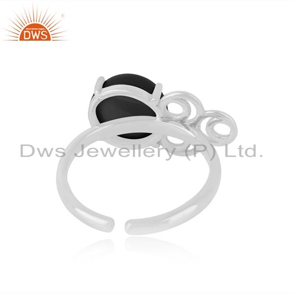 Designers of Natural black onyx gemstone designer fine sterling silver ring manufacturer