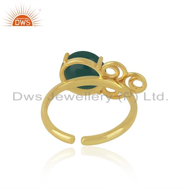 Designers of 18k gold plated sterling silver green onyx gemstone promise ring manufacturer