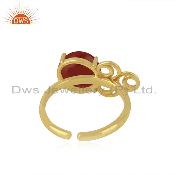 Designers of 18k gold plated 925 sterling silver red onyx gemstone wedding ring wholesale