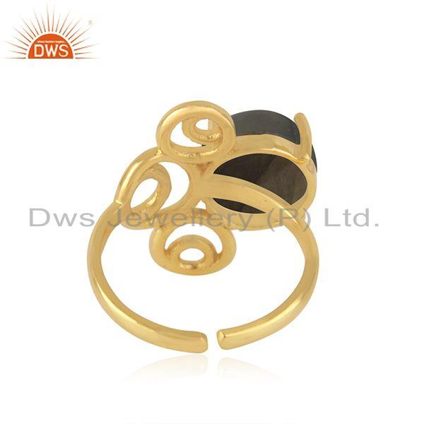 Designers of Yellow gold plated 925 silver labradorite gemstone ring manufacturer of jewelry