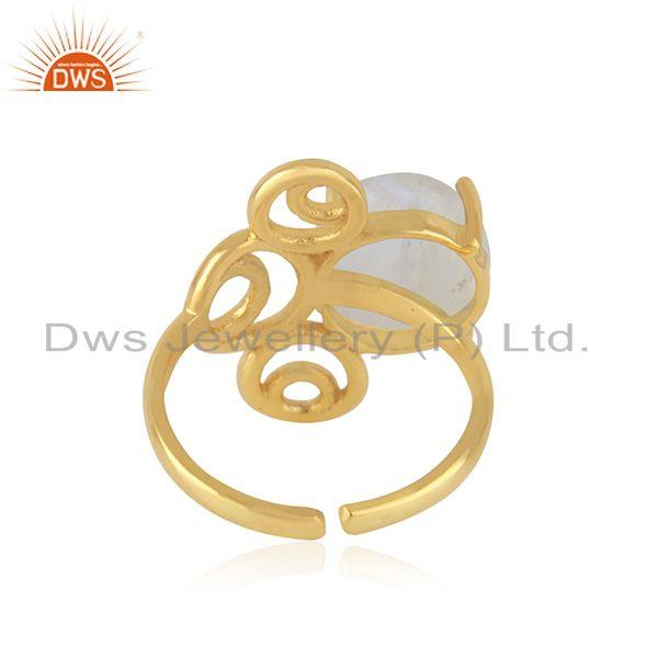 Designers of Designer 925 silver gold plated rainbow moonstone ring manufacturer india