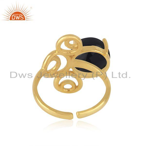 Designers of Gold plated 925 silver black onyx gemstone trendy ring for girls jewelry
