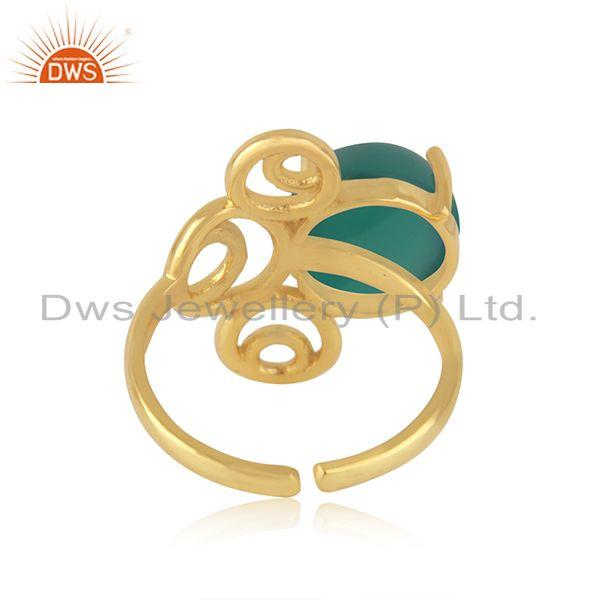 Designers of Green onyx gemstone 925 silver gold plated designer ring jewelry for womens