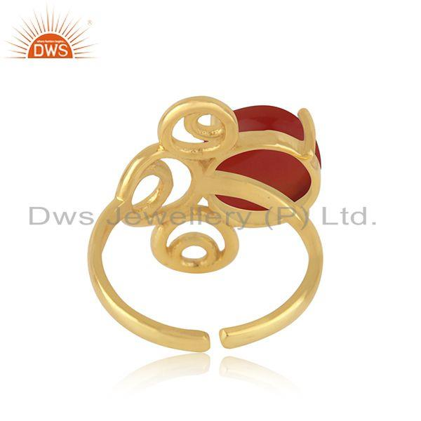 Designers of Yellow gold plated 925 silver red onyx gemstone ring manufacturer india