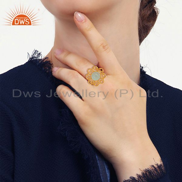 Designers of Solid 925 silver yellow gold plated gemstone cocktail rings jewelry