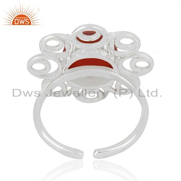 Designers of Red onyx gemstone fine sterling silver floral design ring manufacturer india