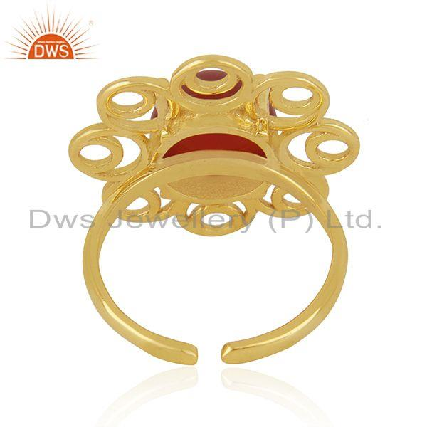 Designers of Red onyx gemstone gold plated 925 silver floral design ring manufacturer