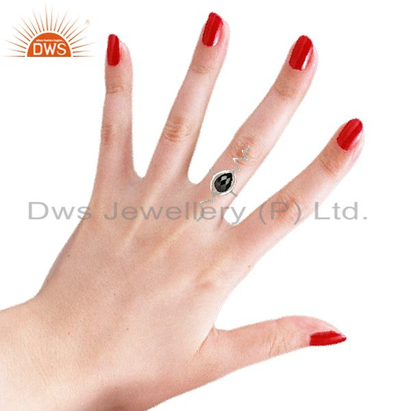 Wholesalers Hematite Studded Simple Heartbeat Designer Silver Ring