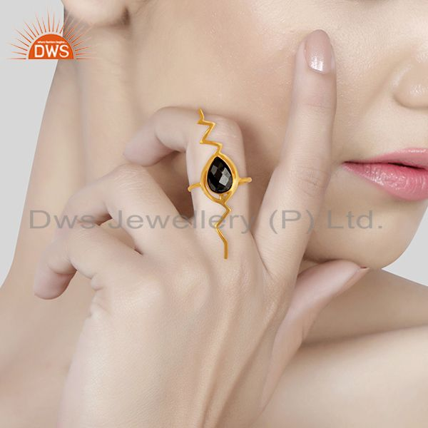 Wholesalers Hematite Studded Simple Heartbeat Gold Plated Designer Silver Ring