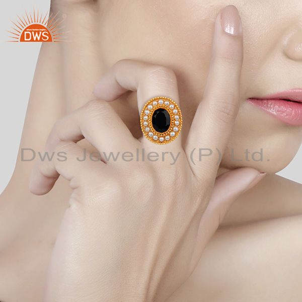 Wholesalers Indian Traditional Gold Plated 925 Silver Customized Ring Manufacturer