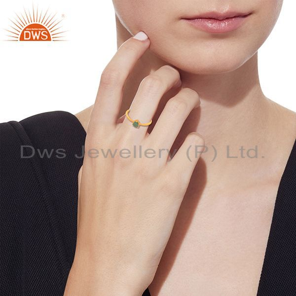 Wholesalers Natural Emerald Birthstone Gold Plated Screw Design Ring Wholesale