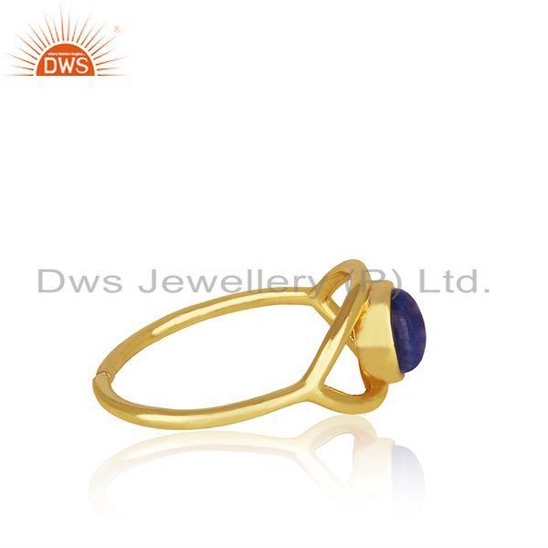 Wholesalers Handmade Evil Eye Design Gold Plated 925 Silver Lapis Gemstone Ring Wholesale