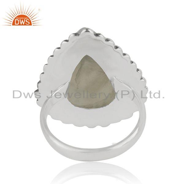 Wholesalers Wholesale Oxidized Sterling Silver Prehnite Gemstone Ring Jewelry