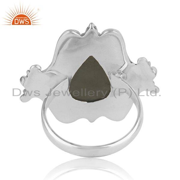 Wholesalers Manufacturer Sterling Silver Oxidized Aquamarine Gemstone Ring Jewelry