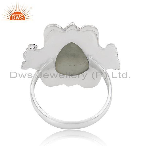 Wholesalers Black Oxidized Sterling Silver Prehnite Gemstone Ring Jewelry