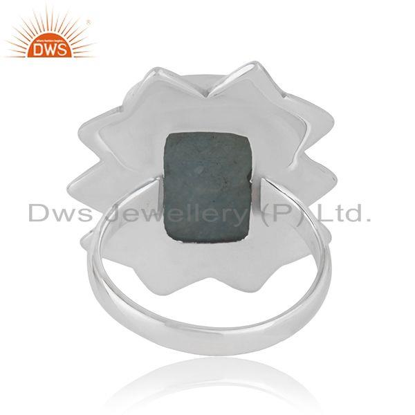 Wholesalers Indian Aquamarine Gemstone Wholesale Sterling Silver Oxidized Ring Jewelry