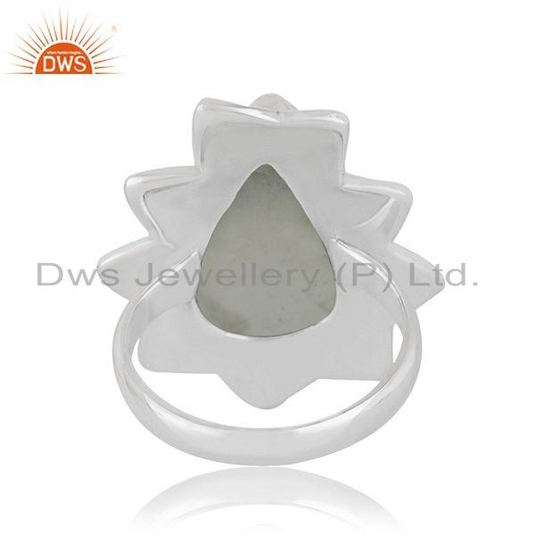 Wholesalers Handmade Sterling SIlver Oxidized Prehnite Gemstone Ring Jewelry
