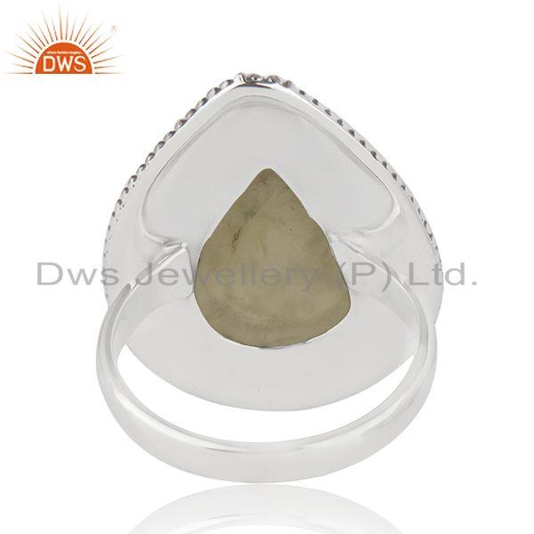 Wholesalers New Oxidized Sterling SIlver Prehnite Gemstone Ring Jewelry Supplier