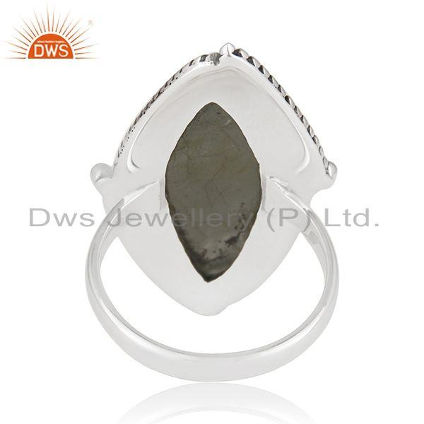 Wholesalers Aquamarine Gemstone Womens Silver Oxidized Ring Jewelry Supplier