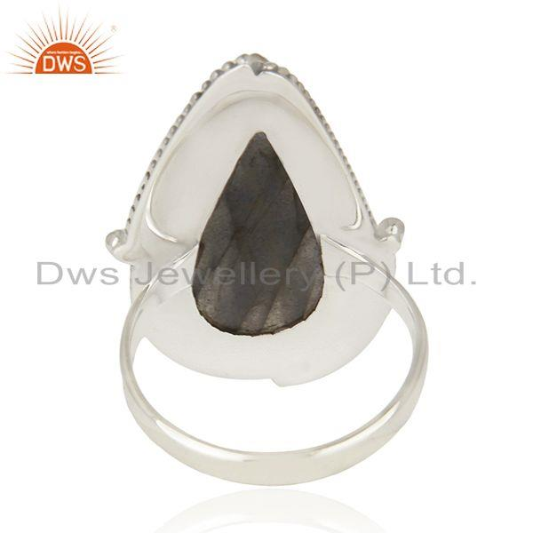 Wholesalers Labradorite Gemstone 925 Sterling Silver Oxidized Statement Ring Manufacture