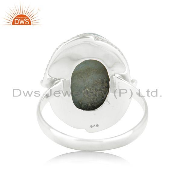 Wholesalers Natural Larimar Gemstone Oxidized 925 Sterling Silver Statement Ring Manufacture