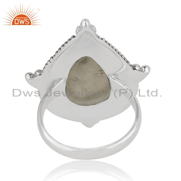 Wholesalers Prehnite Gemstone Oxidized Sterling Silver Ring Manufacturer India