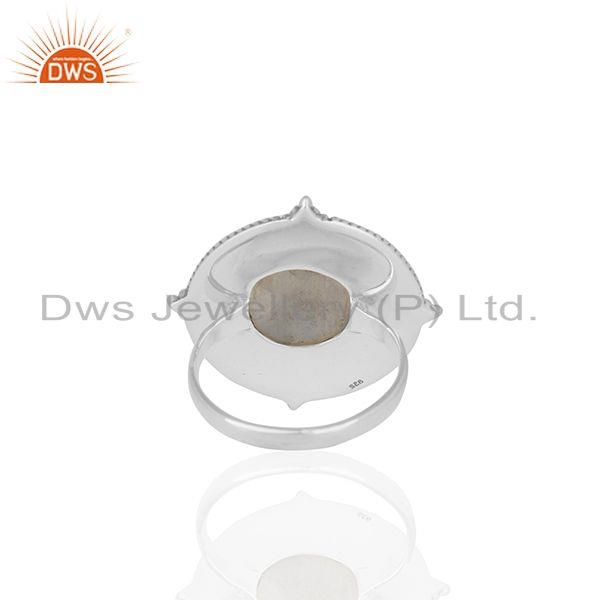 Wholesalers Natural Rainbow Moonstone 925 Silver Cocktail Ring Manufacturer India