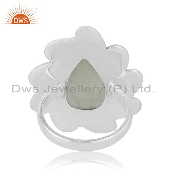 Wholesalers Floral Sterling Silver Oxidized Prehnite Ring Jewelry