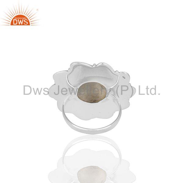 Wholesalers Oxidized 925 Silver Rainbow Moonstone Cocktail Ring Manufacturer Custom Jewelry